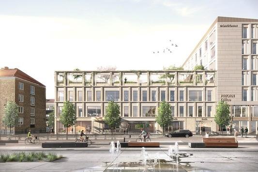 Visionsbild med vy från S:t Johannesgatan