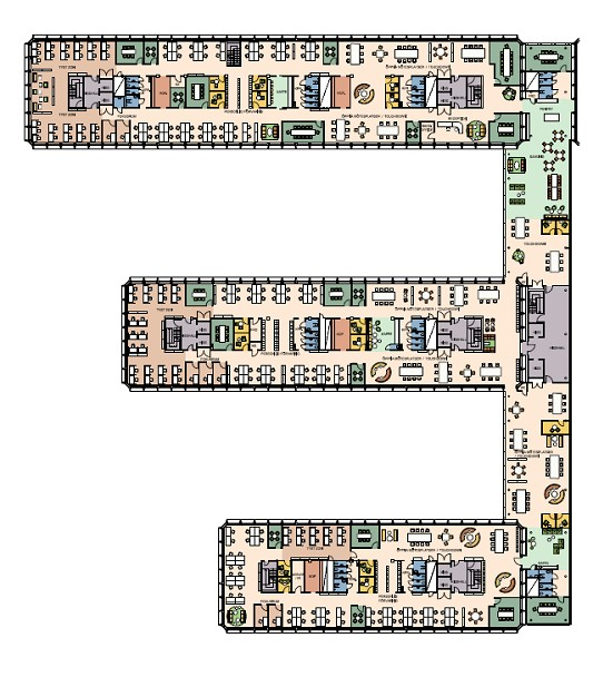 Möjlig planlösning plan 6 aktvitetsbaser